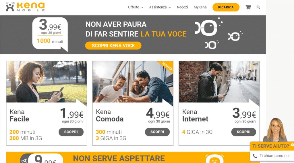 il sito dell'assistenza Kena Mobile